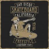 Illustration of the skeleton on the skateboard Vector illustration T-shirt or poster design