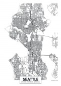City map Seattle travel vector poster design