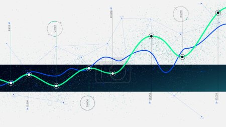 Illustration pour Algorithmes Big Data technologies de visualisation infographie analytique, innovation concept Hi-tech - image libre de droit