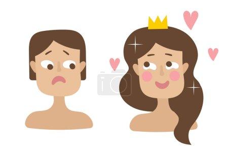 Illustration pour Deux filles.Avoir un cheveux courts rares, ont la deuxième cheveux longs et épais. Brunettes. Émotions, joie et tristesse. Princesse couronnes sur sa tête et les cœurs volants. Vecteur plat sur fond blanc - image libre de droit