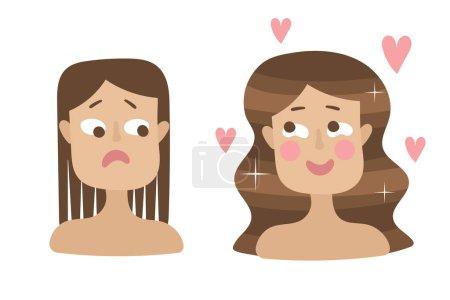 Illustration pour Soins capillaires. Problèmes courants - pointes fourchues, cheveux abîmés, perte de cheveux. Traitement avant et après les soins. Vecteur - image libre de droit