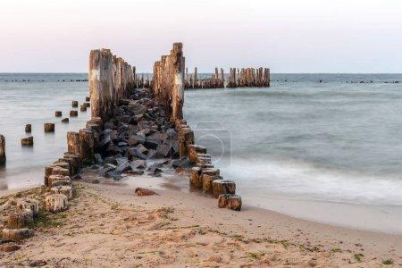 Buhnen aus Holz am Meeresufer.