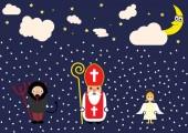 Cute cartoon greeting card with Saint Nicholas, angel and devil character.