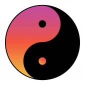 Yin yang symbol of harmony and balance with water color effect