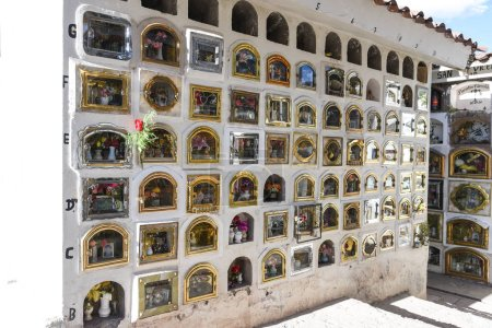 Cuzco / Peru - 07.15.2017: Cemetery de Almudena in Cusco. Biggest and most important cemetery in Cusco, also a tourist attraction.