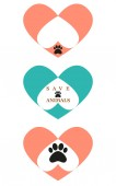 Animal paw with heart icon vector sig