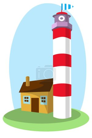 Vector lighthouse with a small house