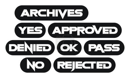 Set of most common stamp words, monochrome, archives, yes, approved, denied, ok, pass, no, rejected
