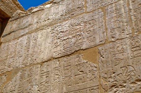 altägyptische Wandmalereien und Schriften an den Steinwänden des Karnak-Tempels in Luxor, Ägypten, Afrika