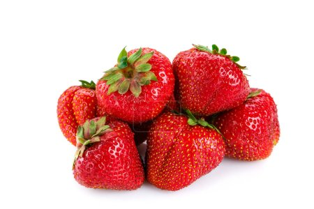 Photo for Fresh strawberries on white background.Delicious ripe strawberries. - Royalty Free Image