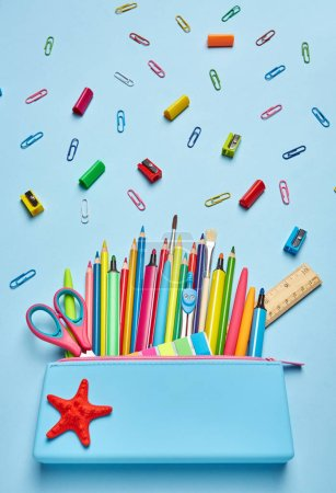 Photo for Pencil case with bright office supplies. Colorful Back to School background. 1 September concept postcard - Royalty Free Image
