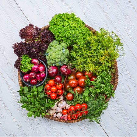 Photo for Breakfast for a vegetarian. Fresh vegetables on the table. Healthy nutrition, rich in vitamins. Top view - Royalty Free Image