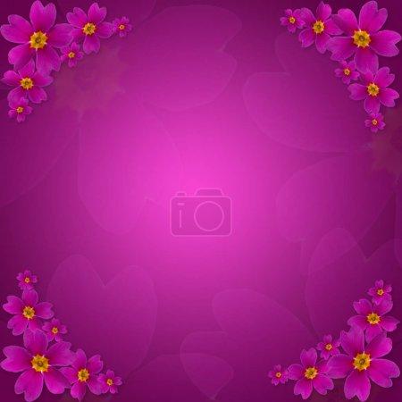 Foto de Fondo floral morado primula. Flores hechas con degradado para fondo. Textura abstracta. Tarjeta de felicitación para mujer. Color violeta de lujo. - Imagen libre de derechos