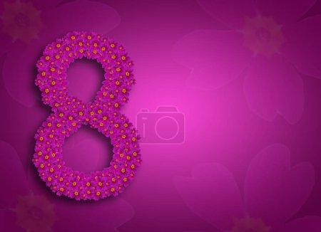 Foto de Tarjeta de felicitación para mujeres el 8 de marzo. Delicado fondo floral púrpura. La figura 8 se compone de flores. Coloque el texto. Tarjeta de felicitación. - Imagen libre de derechos