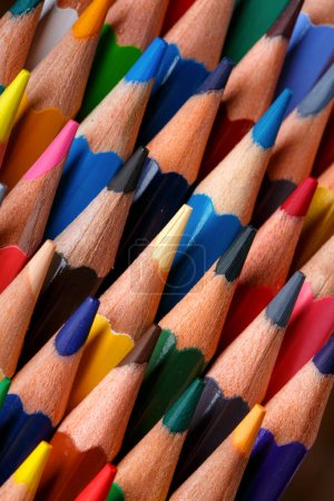 Photo for Bright sharp pencils are ready for drawing. Back to school concept - Royalty Free Image