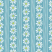 Minimal cute hand-painted daisies and stripes on teal background vector seamless patters Spring summer floral print