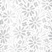 Monochrome silver gradient hand-painted daisies and foliage on white background vector seamless patters Floral print
