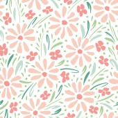 Pastel colored hand-painted daisies on white background vector seamless pattern Delicate spring summer floral print