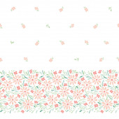 Pastel colored hand-painted daisies on white background horizontal vector seamless border Delicate floral edge