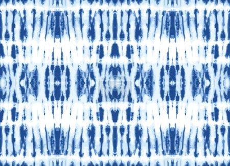 Monochrome Indigo Bright Tie-Dye Shibori rayures verticales miroir sur fond blanc motif sans couture vectoriel