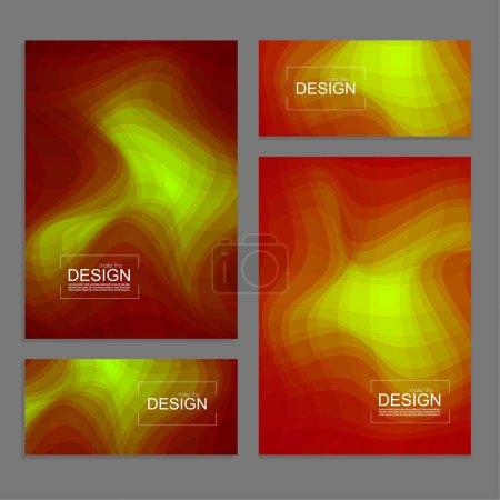Ilustración de Conjunto de libro cubre y banners de plantilla de diseño con textura de varios colores una onda distorsionada. Ilustración de vector moderno - Imagen libre de derechos