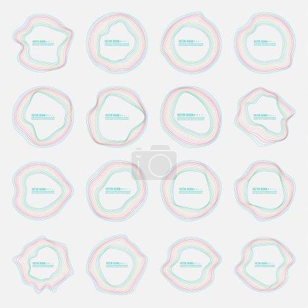 Ilustración de Conjunto de vector de banderas redondeos coloridos deformes. El cuadro de texto con un contorno distorsionado - Imagen libre de derechos