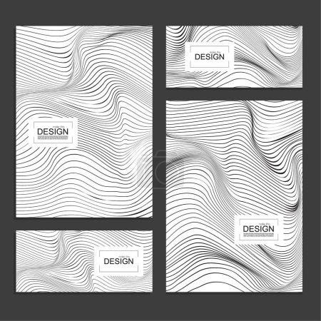 Ilustración de Conjunto de libro cubre y plantilla de diseño con textura monocromática de onda distorsionada de banners. Fondo de vector raya deformación. - Imagen libre de derechos