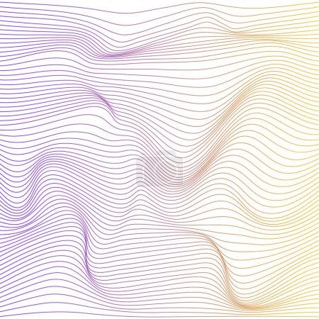 Ilustración de Onda distorsionada textura de gradación de colores. Resumen superficie ondulada dinámica. Fondo de vector raya deformación - Imagen libre de derechos