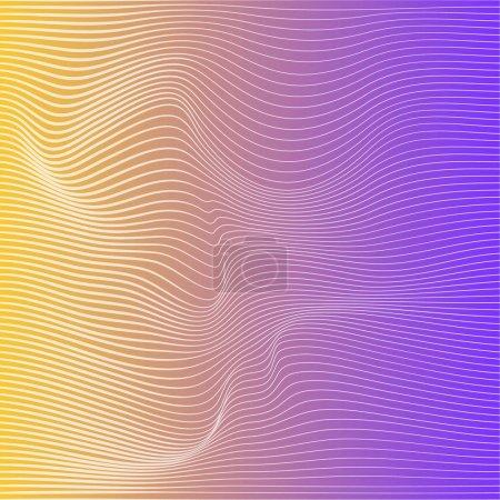 Ilustración de Onda distorsionada textura de gradación de colores. Resumen superficie ondulada dinámica. Fondo de vector raya deformación. - Imagen libre de derechos