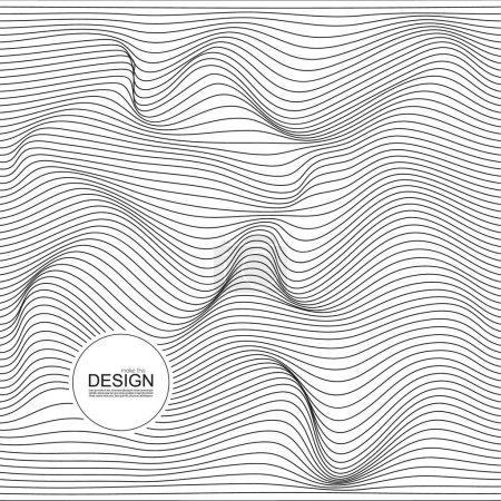 Ilustración de Textura monocromática de onda distorsionada. Resumen superficie ondulada dinámica. Fondo de vector raya deformación - Imagen libre de derechos