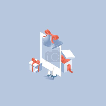 3d vector illustration with gift box, packet, bow, isometric sale design, online offer concept for ecommerce discount campaign, shopping background, landing page template,
