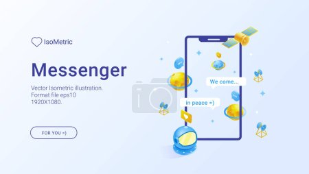Mobile app illustration set. Vector isometric illustration