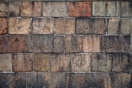 Photo pour Plein cadre de fond de mur de brique vide - image libre de droit