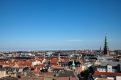 aerial view of beautiful cityscape with historical tower in copenhagen, denmark
