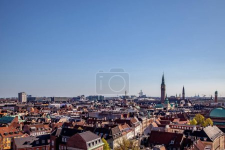 aerial view of beautiful cityscape with historical and modern buildings in copenhagen, denmark