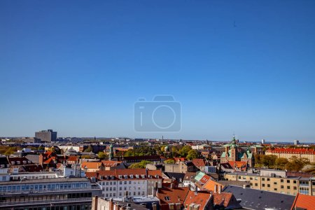aerial view of beautiful historical and modern buildings at sunny day, copenhagen, denmark
