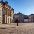 Beautiful Amalienborg palace and historical buildings and street lamps on empty square in copenhagen, denmark