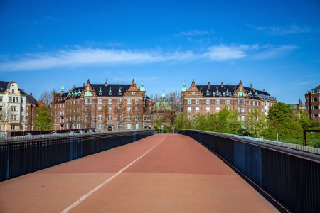 Photo for Empty bridge and beautiful cityscape with historical buildings in copenhagen, denmark - Royalty Free Image