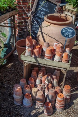 high angle view of various handmade ceramic pots and prices in copenhagen, denmark