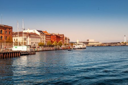 COPENHAGEN, DENMARK - MAY 6, 2018: cityscape and river with boats