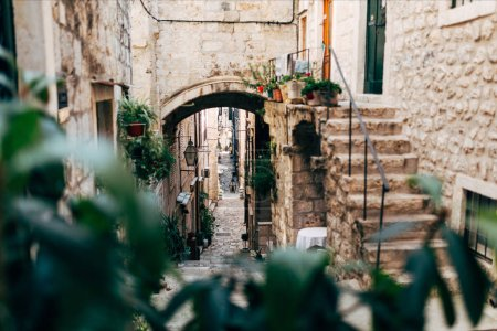 Photo for Scenic view of empty narrow street in Dubrovnik, Croatia - Royalty Free Image