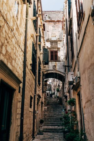 urban scene with empty narrow street in Dubrovnik city, Croatia