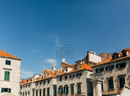 urban scene with architecture and clear blue sky in Dubrovnik, Croatia