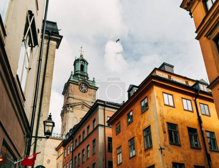 urban scene with beautiful colorful buildings in old town of Stockholm, Sweden