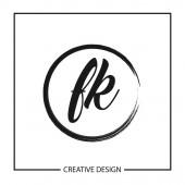 Initial Letter Logo FK Template Design