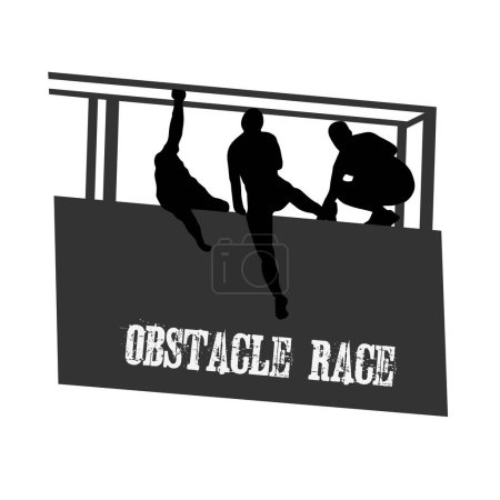 Illustration for Black silhouettes of a people overcoming the obstacle. Obstacle race symbol. Vector illustration. - Royalty Free Image