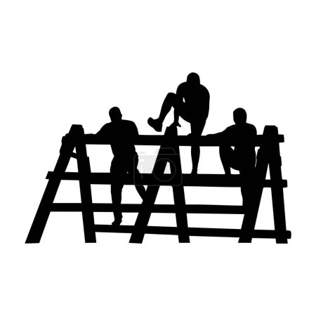 Illustration for Black silhouettes of group of people overcoming the obstacle. Obstacle race symbol. Vector illustration. - Royalty Free Image