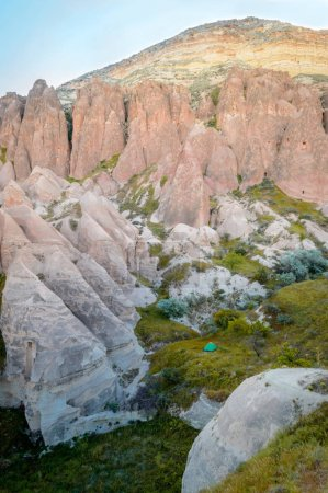low angle view of rocky hills and mountain, Cappadocia, Turkey