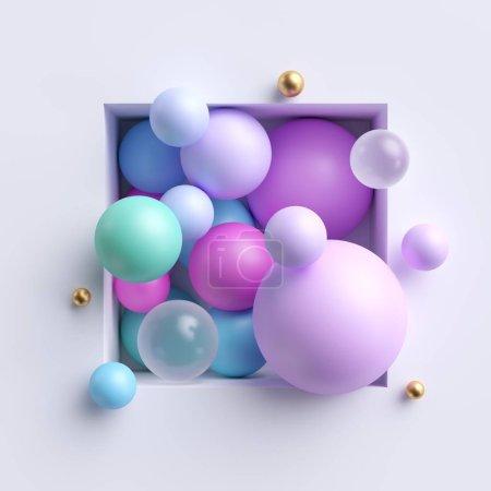 Illustration abstraite 3D, boules pastel bleu rose assorties à l'intérieur niche carrée isolée sur fond blanc