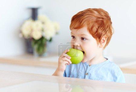 Photo pour Mignon rousse tout-petit bébé mordant savoureux pomme verte - image libre de droit